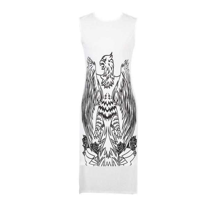 robe de réservoir féminin impression sans manches o col haut bas robe
