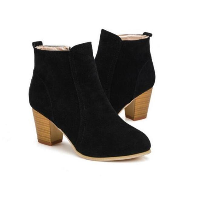 Bottines Femmes Qualité Supérieure Talons hauts Bottine 2018 Nouvelle arrivee Plus De Couleur noir rouge chaussures Grande