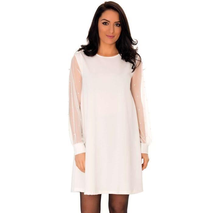 Miss Wear Line - Petite robe blanche avec jolies manches bouffantes en tulles avec détails perlés