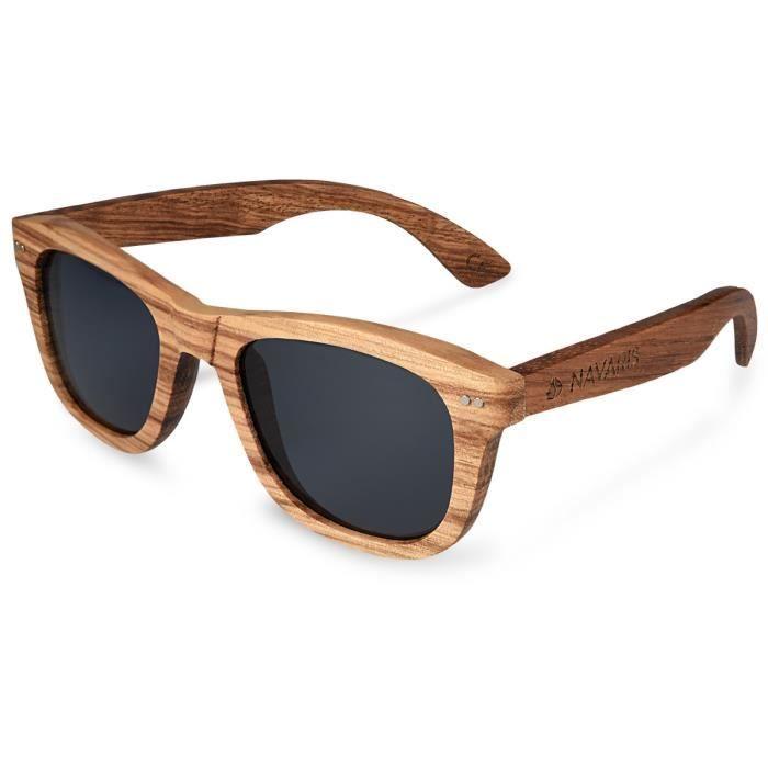 Navaris Lunettes de soleil Wayfarer UV400 - Femmes Hommes bois - Lunettes  avec bois zébré - Lunettes en bois polarisées Aspect bois 041f0680853d