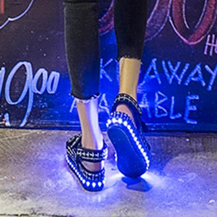 Luminous Shoes Casual Light Femme Night Plaform Noir Led Sandales UnSYqOW
