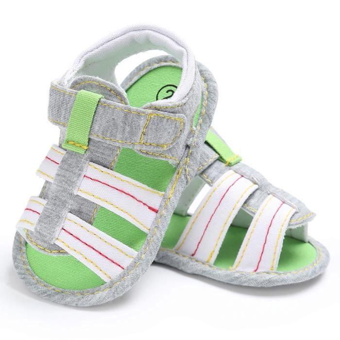 Frankmall®Bébés garçons enfant Toile fille garçon unique berceau sandales Chaussures BLANC#WQQ0926241
