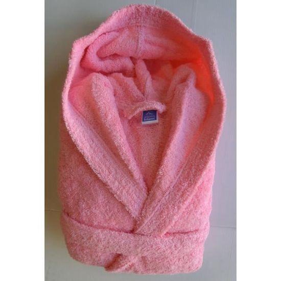 Xl Coton 100 Rose taille 500gr Peignoir Clair Capuche M² BaRwgcfxq