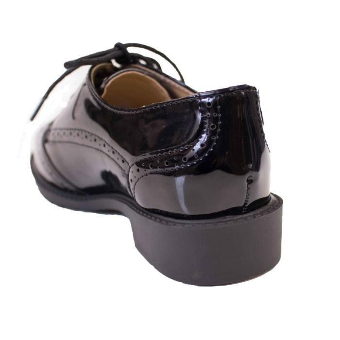 43fa4173de8 ... Derbies femme noires vernies semelle interieure cuir baskets elegantes  talon carre a motifs PrgGA