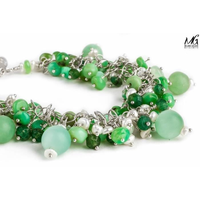 Womens Chunky Wire Wrapped Lime Green Bracelet With Keshi Pearls, Chrysophase, And Aventurine In S L144G