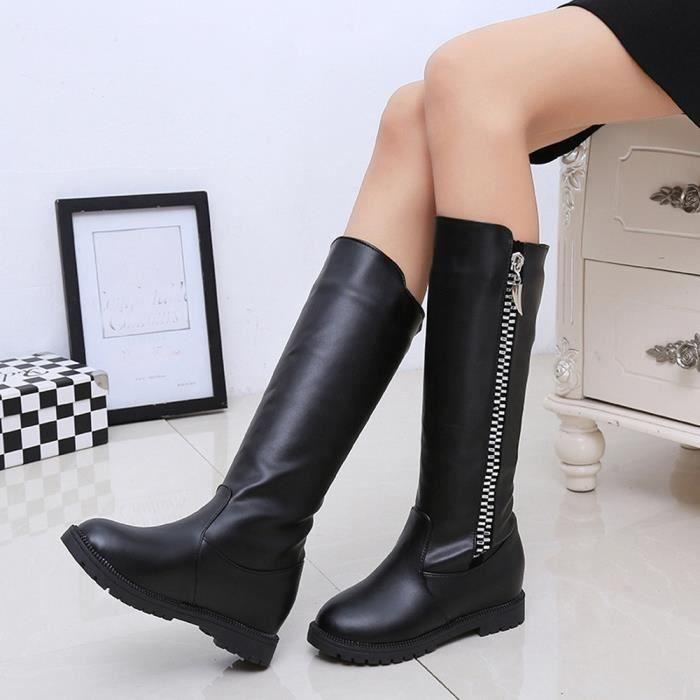 Napoulen®Mode Hiver botte cuissardes haute sur la genou augmenté talons plats pour femmes Noir-LMH71103552BK