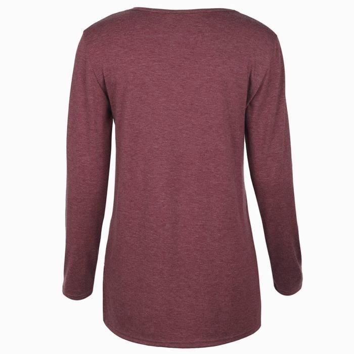Cou Mode Féminine Longues Décontracté T shirt Vin Manches du Imprimé O Lettre À Chemisier xYBqTdwrY