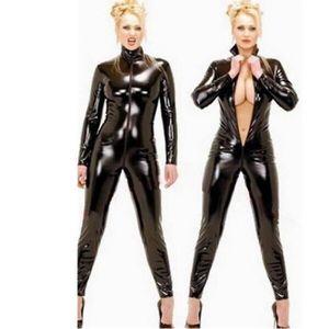 ENSEMBLE DE LINGERIE Hommes Femmes Unisexe Sexy Latex Catsuit Noir Wetl