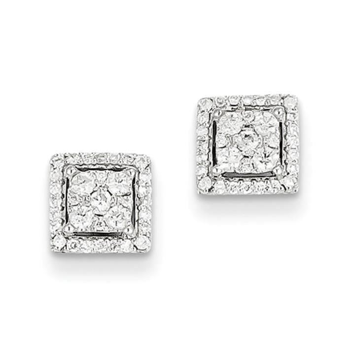 À Carats Carré Blanc 14 Or Diamant Boucles Dos D'oreille Achat DH92IEeWY