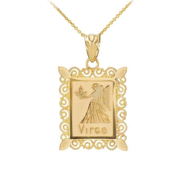 Pendentif 10 ct 471/1000 Or Vierge filigraneCarré
