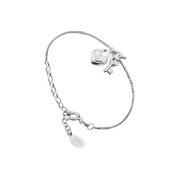 Bracelet chaîne coeur et clé en argent 925 passivé, 3g