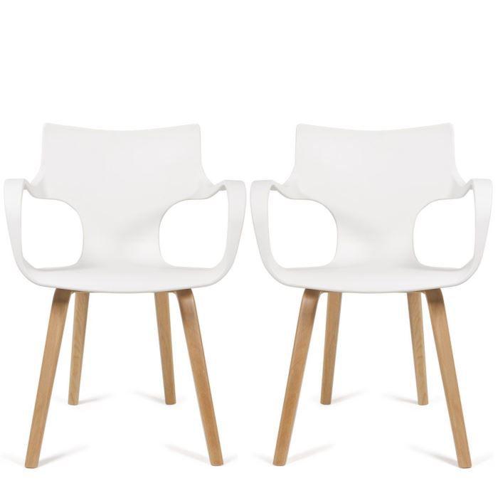 CHAISE Lot De 2 Chaises Design Rockwood Couleur Blanc