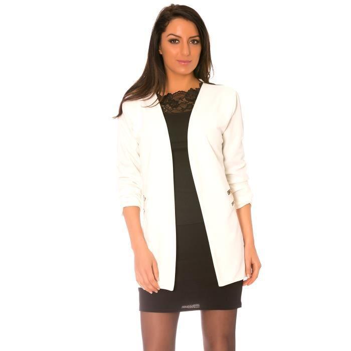 dmarkevous veste femme blanche longue et fluide avec double zip aux poches unique blanc. Black Bedroom Furniture Sets. Home Design Ideas