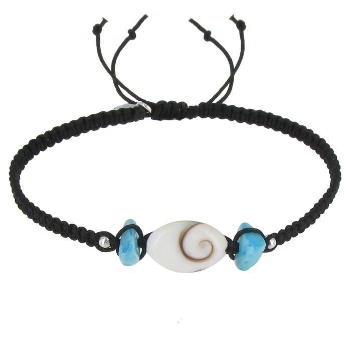 Bijoux Les Poulettes - V Bracelet Lien Tréssé Noir Pavés de Larimar et Oeil de Ste Lucie