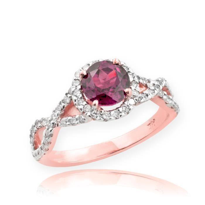 Bague Femme Alliance 10 ct Or rose 471/1000 Alexandrite Infinité Avec Diamant