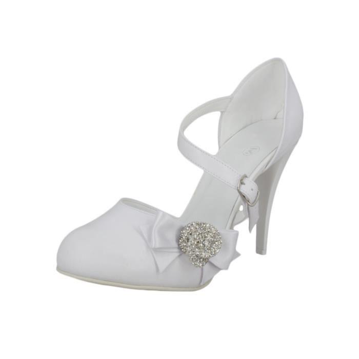 Chaussures de mariée satin et lanière Blanc OmacaA