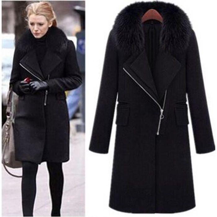 design intemporel ec779 8048a Femmes Automne Hiver Noir Manteau en laine Fashion Plus Size Fur Collar  Coat Tempérament Moyen long Zipper design Vêtements femme