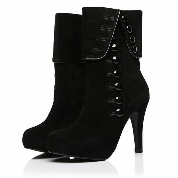 2016 Bottes Chaussures Cheville Femme Femmes Dames Mode Plate Boucle Bottes Talons Troupeau D'hiver hauts De Rouge Chaussures Forme LGUVjqSMpz