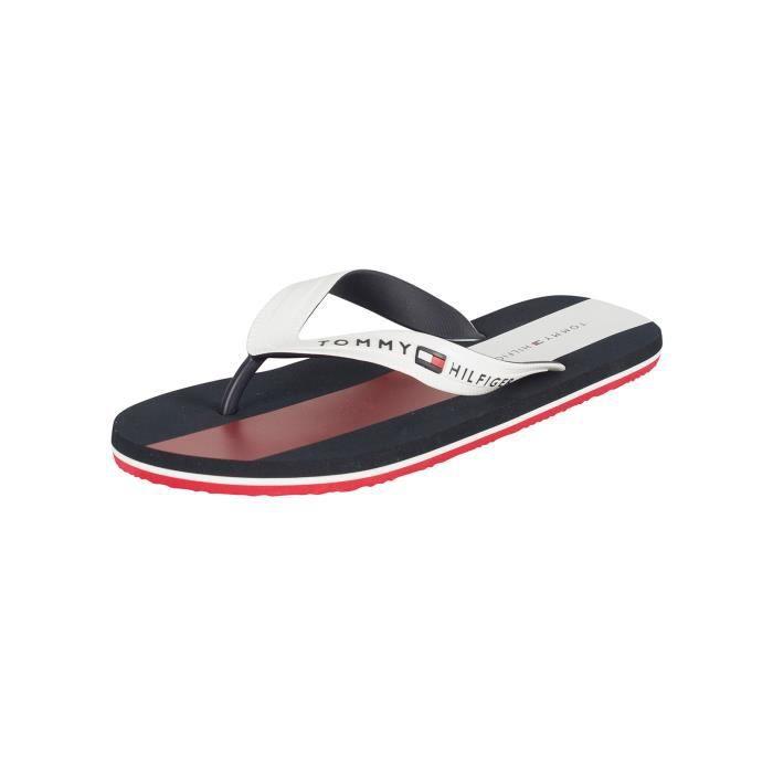 TONG Tommy Hilfiger Homme Logo Flip Flops, Blanc