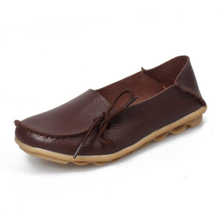 Femmes en cuir de peau de vache Casual Lacets Slipper Slip-on Mocassins Chaussures de conduite plat R1RPH Taille-40 1-2