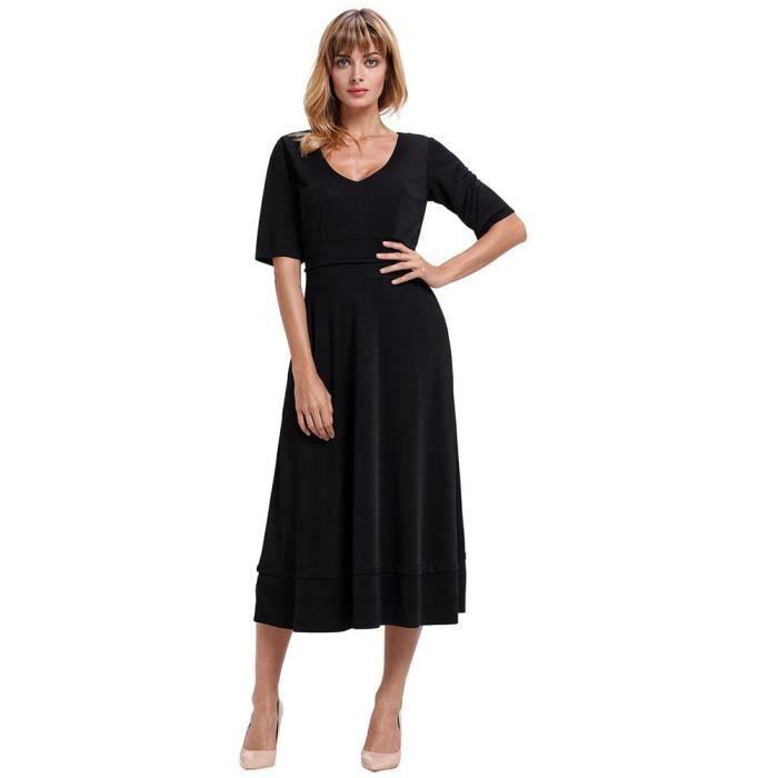 Robe Évasée Femme Décolletée Manches 1-2 Mode Robe Avec Poches Couleur Unie