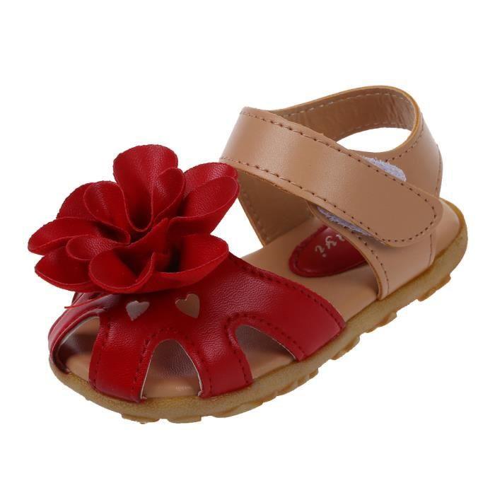 Chaussures d'ete Sandales floral en cuir decontracte Sandales de plage pour les enfants et les filles - Rouge US6.5=CN21
