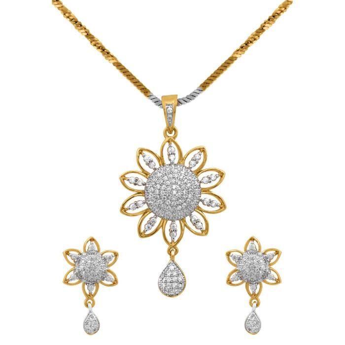 Pendentif plaqué or diamant américain féminin est avec boucle doreille bijoux pour &EFMOJ