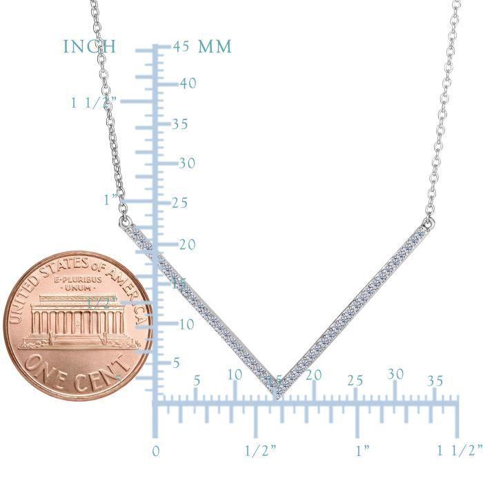 Pendentif- Argent sterling V en forme de CZ pendentif, 18