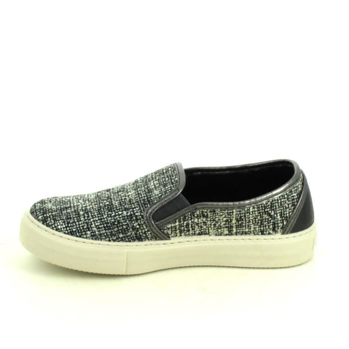 Toile VICTORIA Slip on Noir Chiné