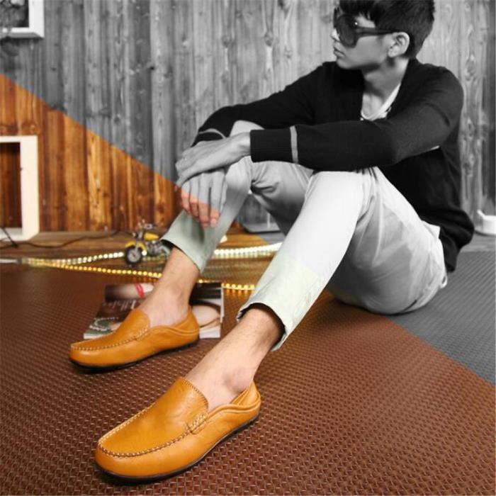 Mocassins Hommes Cuir Printemps Ete Leger Mode Plat Chaussures BJ-XZ078Marron40 chUvczud7
