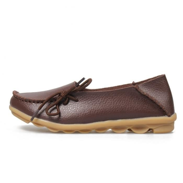 Lace Up Casual Slip Ons Penny en cuir Mocassins Mocassins Ballerines Chaussures UGS0U Taille-38 1-2