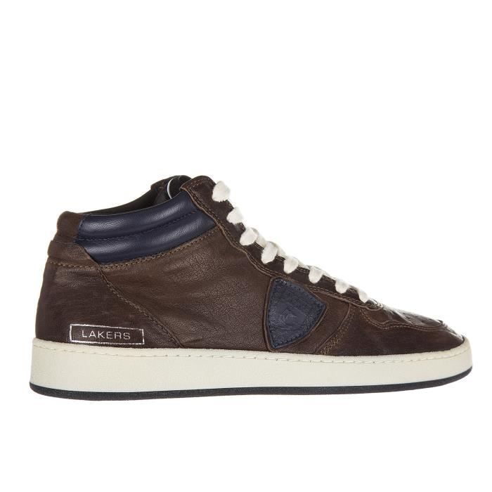 Chaussures baskets sneakers hautes homme en cuir lakers Philippe Model 5CuShi1