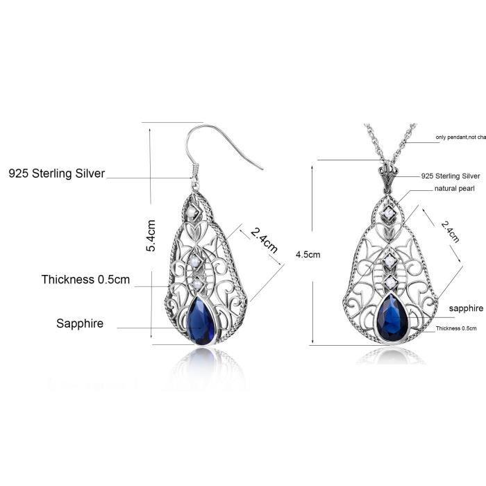 Parure Drop Fleur Boucles dOreilles Pendentif Bleu Argent 925° et Saphire Femme