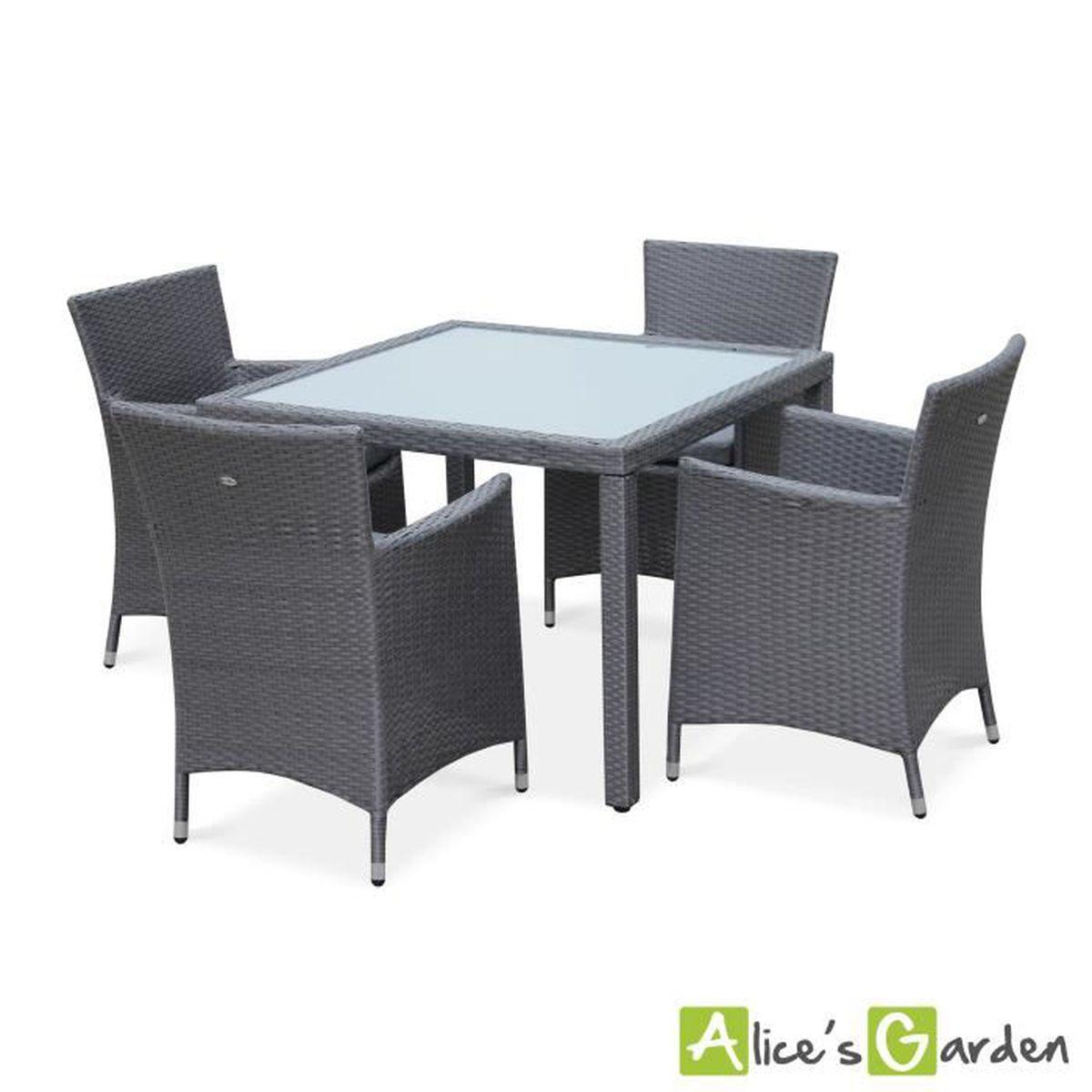 Salon de jardin en résine tressée gris, 4 fauteuils, table 100cm ...