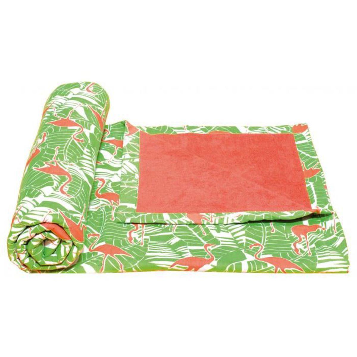 Serviette de plage éponge Flamingo - Achat / Vente serviette de ...