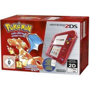 CONSOLE 2DS Nintendo 2DS Rouge Transparent + Jeu Pokémon Versi