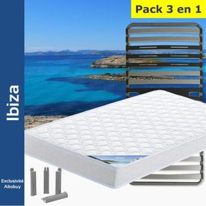 ENSEMBLE LITERIE Ibiza - Pack Matelas + AltoZone 90x200 + Pieds