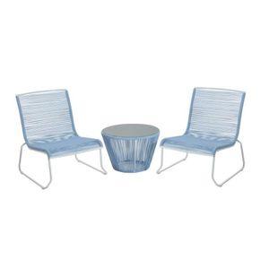 Ensemble salon de jardin design contemporain 2 places : 2 fauteuils et  table basse plateau verre trempé cordage PVC métal blanc e...