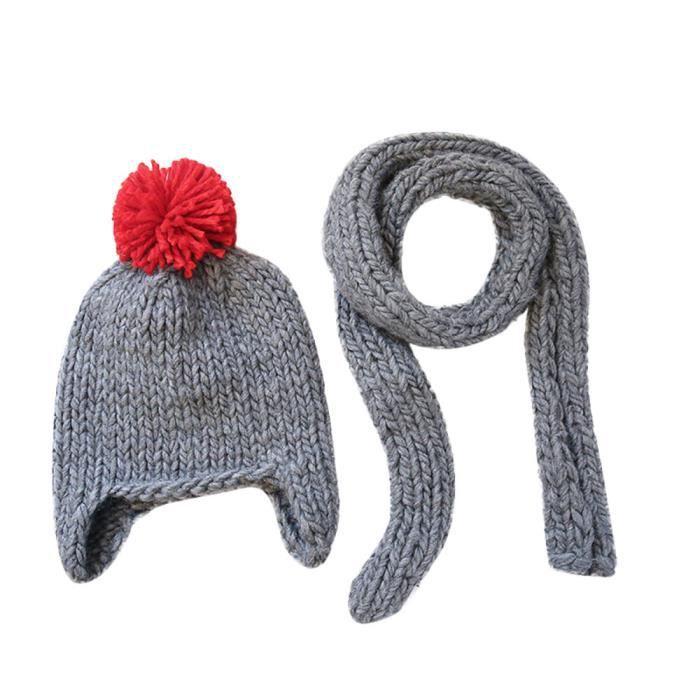 Enfant en bas âge Enfants Fille Garçon Bébé Infantile Hiver Crochet Cap Knit  Hat Scarf Deux Set FOSE325 657df556030