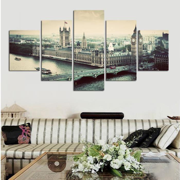 Imprimé 5 panneaux peinture toile effet ville mur noir et blanc ...