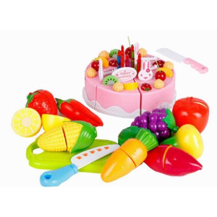 jeux enfants jouet enfant cuisine pour enfant fruits et l gumes et g teau 49pcs achat vente. Black Bedroom Furniture Sets. Home Design Ideas