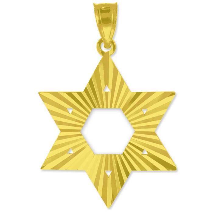 Pendentif10 ct or 471/1000 Jaune Juive Étoile de David Pendentif (M) 1.25 (Livré avec lONU 18 Chaîne)