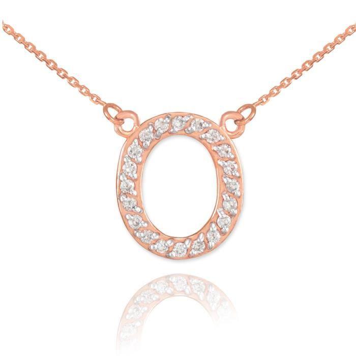 Pendentif 14 ct Or Rose 585/1000lettre initiale O Diamantsinitial
