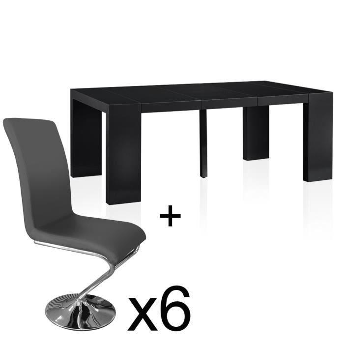 Table noir laque avec chaise achat vente table noir for Table chaise noir