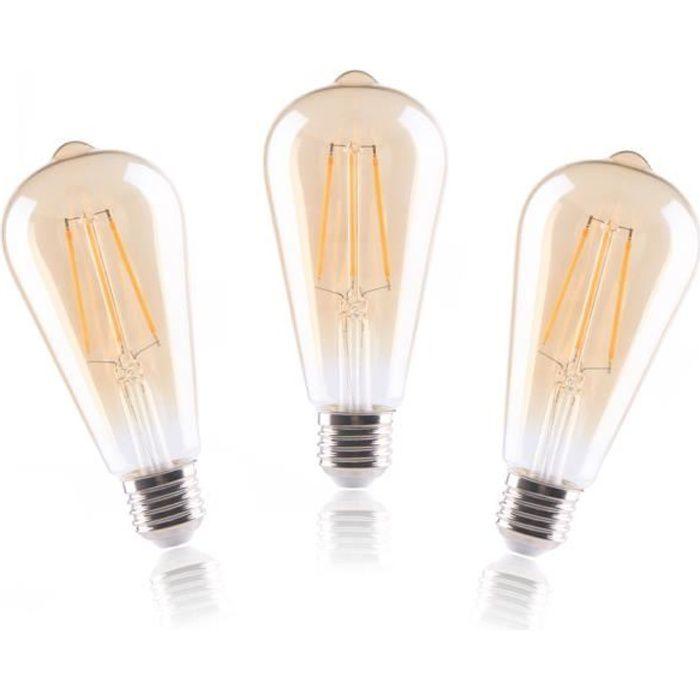 3x ampoules led filament retro e27 dimmable 8w Équivalent 80w blanc