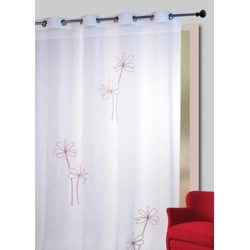 rideaux voilage rouge et gris achat vente rideaux. Black Bedroom Furniture Sets. Home Design Ideas