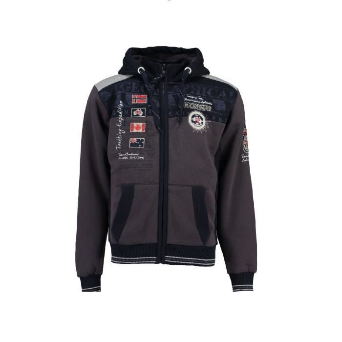 20d6849f60d50 Sweat à capuche Geographical Norway Geday Gris Gris Gris - Achat ...