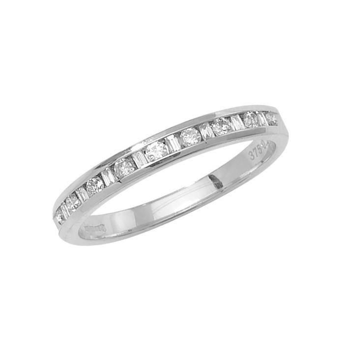 Bague Femme Semi Pavée Or Blanc 375-1000 et Diamant Brillant 0.27 Carat H - I1 I2