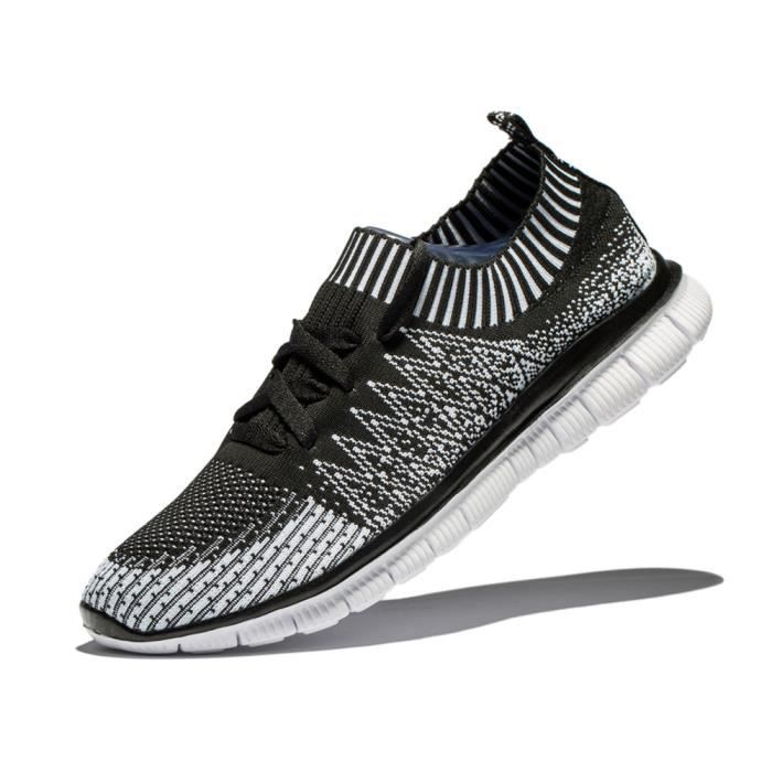 Nouvelle hommes chaussures tricot chaussures respirant de course sport qualité sneakers en plein air