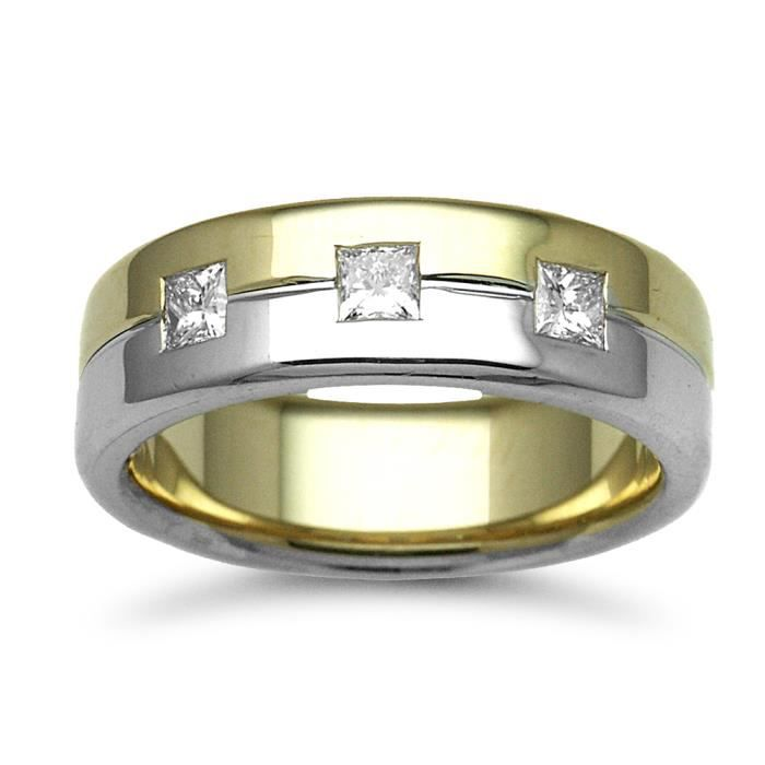 Jewelco London Or 2 couleurs 18k 0.45ct Diamant mariage bague 7mm